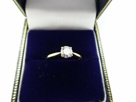 BEAUTIFUL HALLMARKED 9CT GOLD MOISSANITE RING SIZE