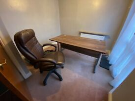 Large Brown Home Office Desk and Swivel Chair