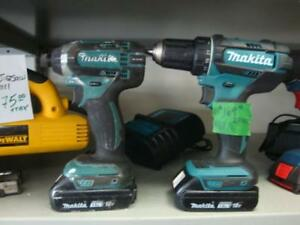 Makita 2 Piece Impact and Drill 18v 2 batteries and Charger