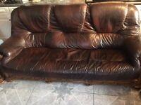 3+1+1 brown leather sofa