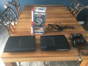 2 PS3 consoles, 1 500GB, 1 12GB, 2 controllers, 19 games