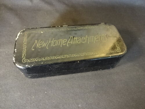 Old Vtg New Home Attachments Sewing Box Metal Container
