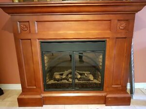 Electric Fireplace with brown solid wooden mantle