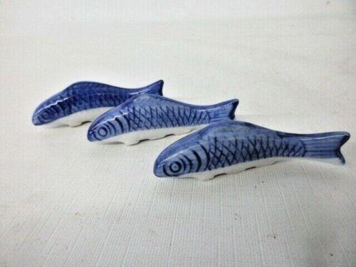 3 vintage blue and white porcelain fish shaped chopstick holders/knife rests