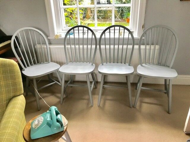 4 Grey painted chairs kitchen or dining room