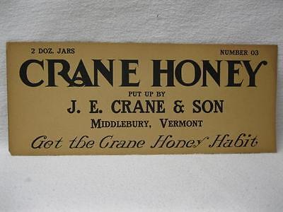 J E Crane & Son Honey Middlebury Vt Crate Label Beekeeping 24 Jars Vintage Old