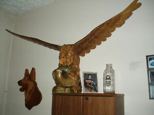 Beautiful Hand carved wooden Bald Eagle on Duck Cambridge Kitchener Area image 2