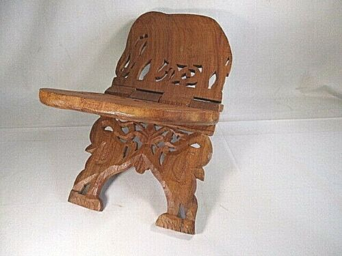 Vintage Hand Carved Wood Folding Book/Bible Stand