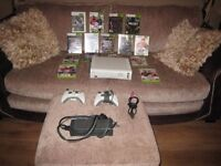 XBOX 360 £48, 15 GAMES, 2 CONTROLLERS, HDMI LEAD, POWER PACK , GTA V COD FIFA ETC