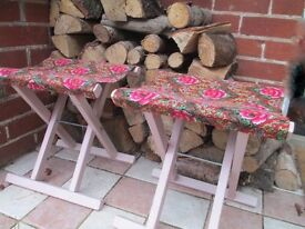 Quirky Vintage Folding Stools Great for Camper Day Van etc