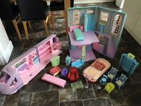 Barbie house, car, camper van and furniture bundle .