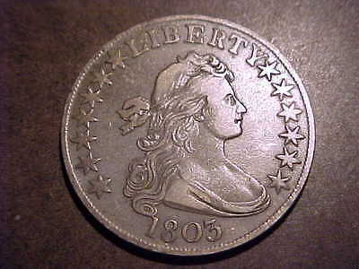1803 LARGE 3  EXTRA FINE   EARLY DRAPED BUST HALF DOLLAR