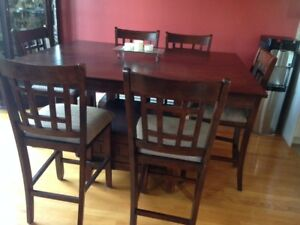 Pub table with 8 chairs