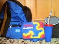 ALL NEW!Good sized rucksack,thermal snack carrier,small lunch pack and sports cup all new and unused