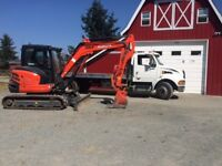 Kubota Excavator with attachments and rollback truck for hire