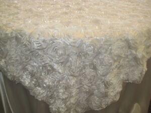 10-White-Rosette-Rose-Satin-Table-Overlays-54-x54-Tablecloths-Ribbon-Wedding