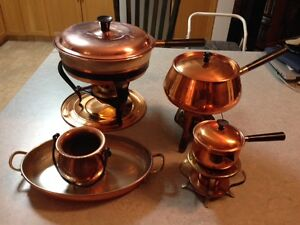 Copper chafing dish, pot, butter pot, tray