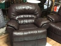 All electric recliner 3seatet sofa and 2 chairs brown soft leather