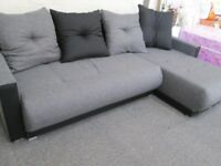 GREY/BLACK FABRIC CORNER L-SHAPED SOFA/BED CONVERSION+STORAGE+4 BIG CUSHIONS