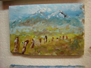 OIL PAINTINGS ON TILE AND CANVAS