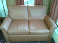 Job Lot of Knightsbridge beige/brown leather sofas and tub armchairs-25 pieces