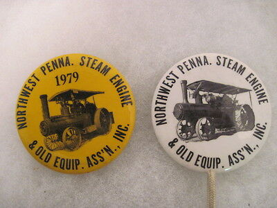 2 OLD VINTAGE 1979 NORTH WEST PENN STEAM ENGINE PINS PINBACKS COLLECTIBLE