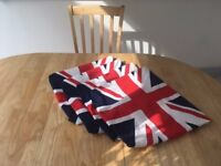 Oval solid oak dining set -extendable table and 4 upholstered chairs with union jack covers - as new
