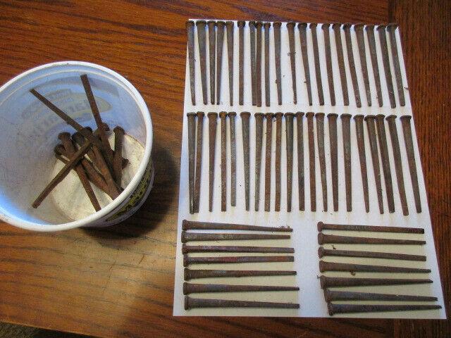 "Antique Primitive 3 1/2"" Square Head Steel Cut Rustic Nails ~ Lot Of 60"