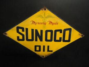OLD VINTAGE SUNOCO OIL & GASOLINE PORCELAIN ENAMEL GAS PUMP STATION SIGN
