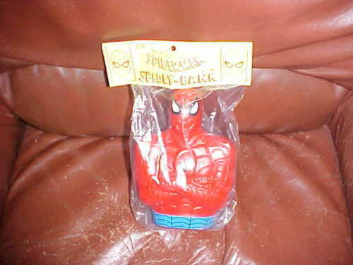 "Vintage 1991 The Amazing Spider Man Spidey Bank. 7"" Tall Vinyl NEW IN BAG"