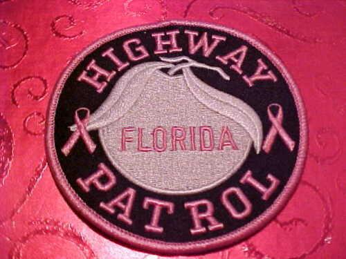 FLORIDA HIGHWAY PATROL PINK CANCER POLICE PATCH SHOULDER SIZE UNUSED 4 INCH T-2