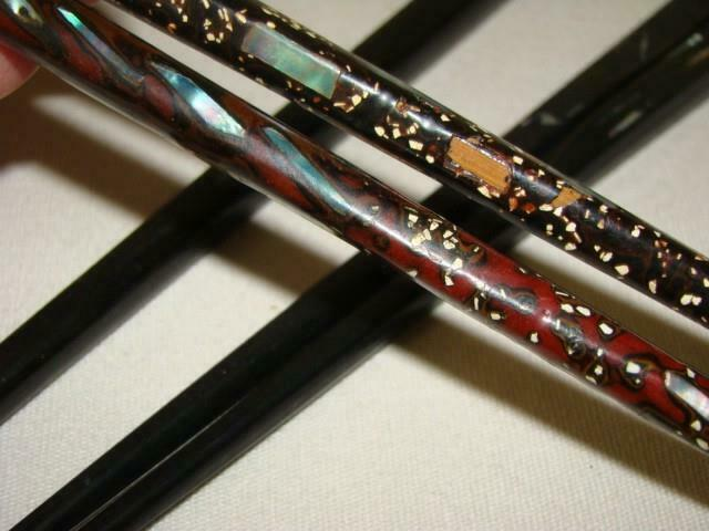 Lot of 4 Vintage Inlaid Mother of Pearl & Confetti Design CHOPSTICKS