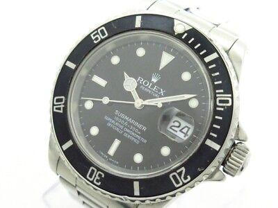 Auth ROLEX Submariner Date 16610 Silver Men