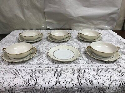 Theodore Haviland Concorde- 5 Handled Cream Soup Bowls And 6 Saucers Plates