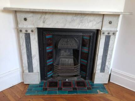 Antique Grey Marble Fireplace Surround And Iron With Ti