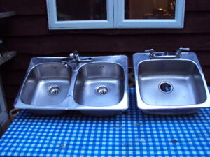 Stainless Steel Sinks used, Eviers acier inox usagé