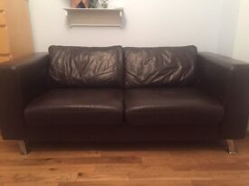 John Lewis brown leather 2 seater sofa - £100