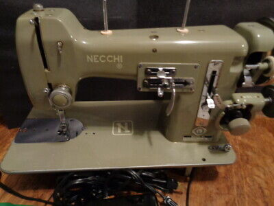 Vintage 1950s Necchi Bu Mira Heavy Duty Portable Sewing Machine Fresh Tune Up