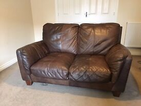 2 seat DFS brown leather sofa - £30 ONO