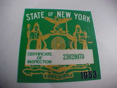 new york 1953 registration inspection sticker windshild