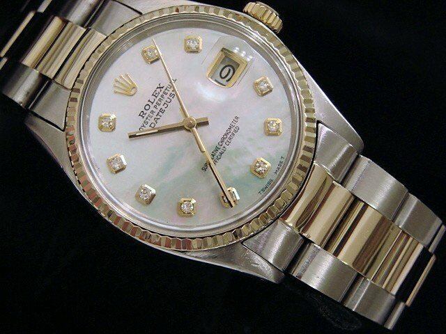 Rolex Datejust Men 2tone 18k Gold & Steel Watch White Mother Pearl Diamond 16013