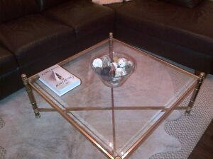 Brass and Glass Coffee Table Cambridge Kitchener Area image 1
