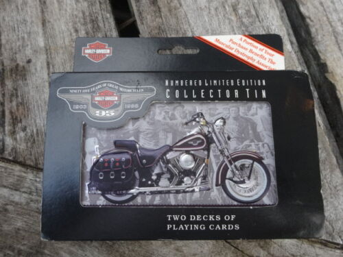 1998 HARLEY-DAVIDSON NUMBERED COLLECTOR TIN, 2 DECKS CARDS & WALL DISPLAY PACK
