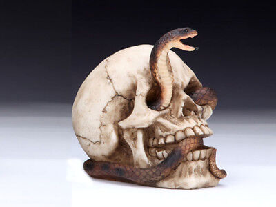 Collectible SKULL WITH COBRA Handpainted Resin Statue SNAKES HALLOWEEN - Halloween Snakes