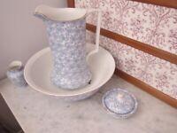 Antique vintage pountney bristol jug basin wash set blue