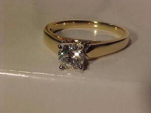 #925-14K Y/Gold DIAMOND SOLITAIRE .66 Carat-APPRAISED$4,050.00--Size 7 1/4--SALE $995.00-ACCEPT EBANK TRANSFER-