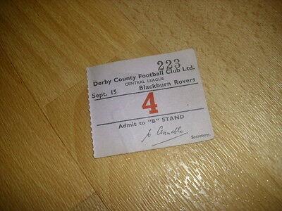 DERBY v BLACKBURN  Central League  15/9/1954  Original Football Ticket