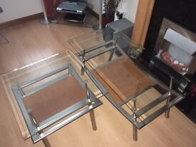 Ex Sterling Lounge Glass Top Tables