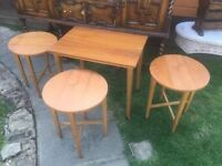 Lovely Folding Table With 3 Drop Leaf Stools - Only £40 -