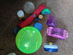 Hamster Cage, bedding, wheels and balls